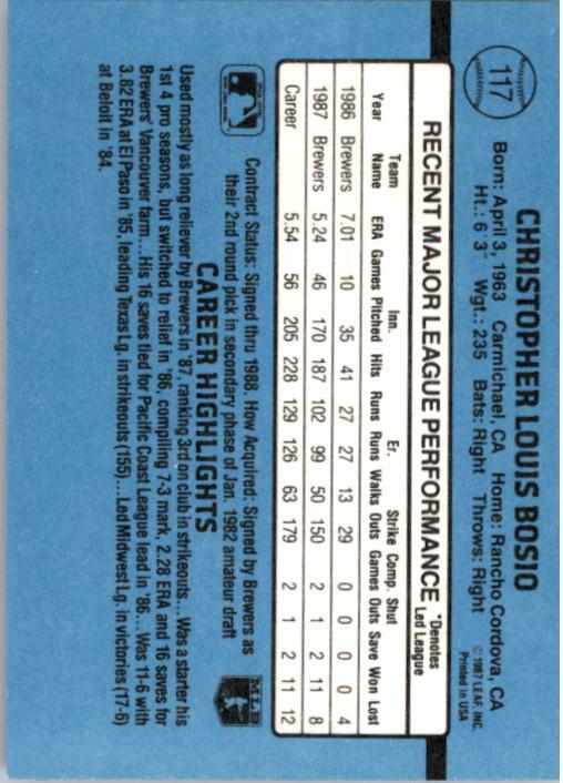 1988 Donruss #117 Chris Bosio back image