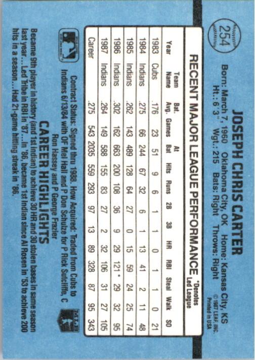 1988 Donruss #254 Joe Carter back image