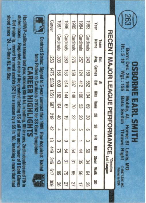 1988 Donruss #263 Ozzie Smith back image