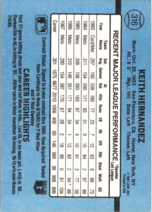 1988 Donruss #316 Keith Hernandez back image