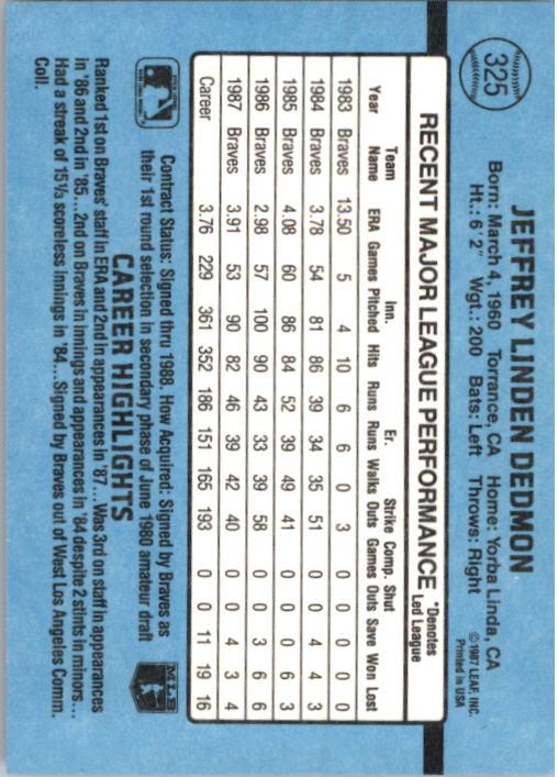 1988 Donruss #325 Jeff Dedmon back image