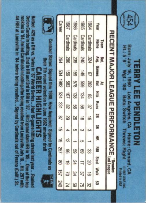 1988 Donruss #454 Terry Pendleton back image