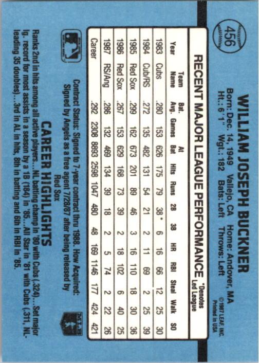 1988 Donruss #456 Bill Buckner back image