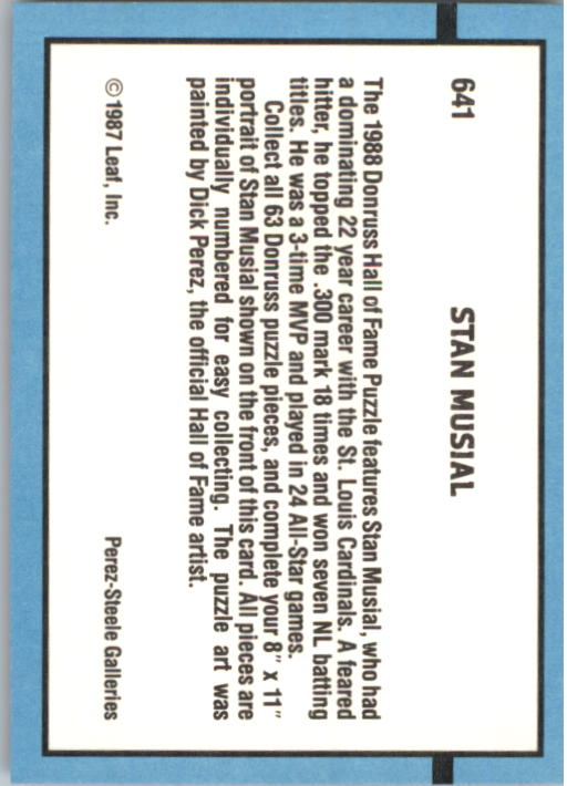 1988 Donruss #641 Stan Musial Puzzle back image