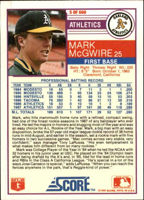 1988 Score #5 Mark McGwire back image