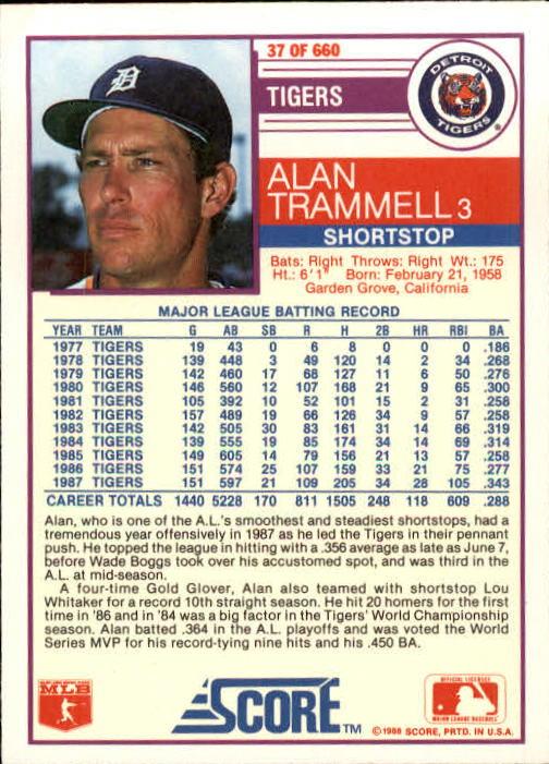 1988 Score #37 Alan Trammell back image