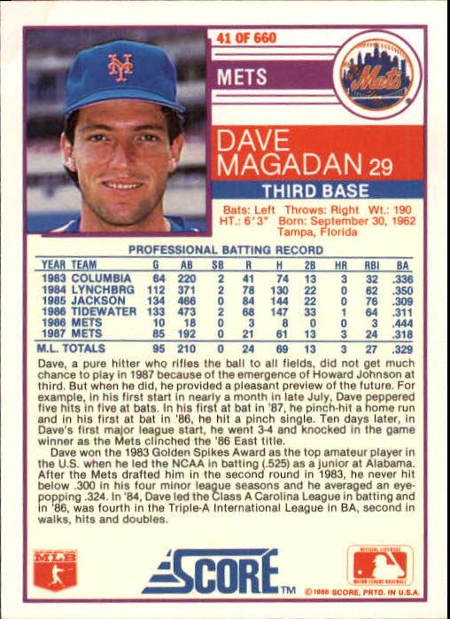 1988 Score #41 Dave Magadan back image