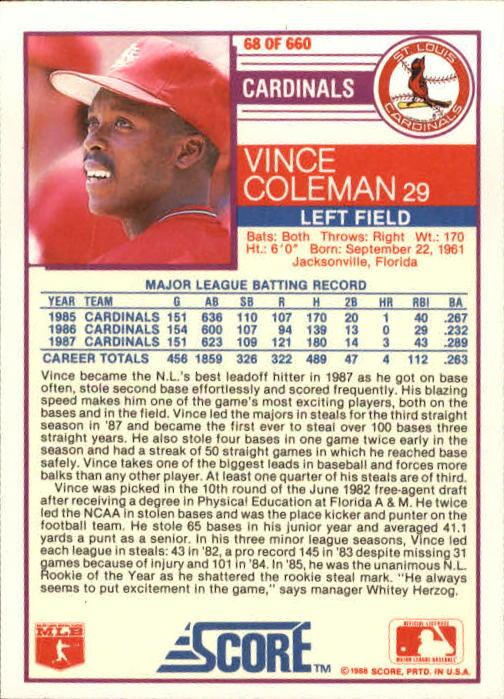 1988 Score #68 Vince Coleman back image
