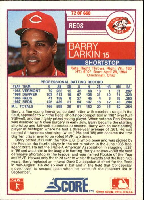 1988 Score #72 Barry Larkin back image