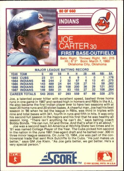 1988 Score #80 Joe Carter back image