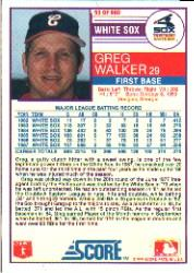 1988 Score #93B Greg Walker COR/93 of 660 back image