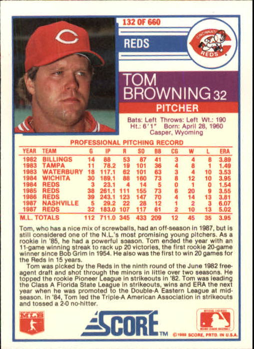 1988 Score #132 Tom Browning back image
