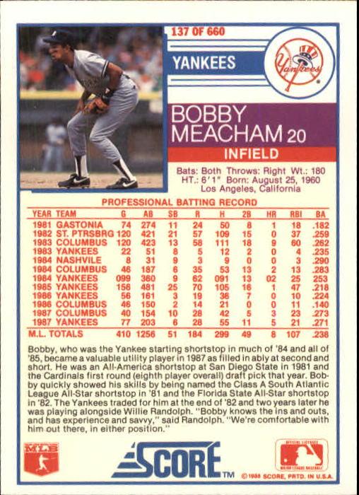 1988 Score #137 Bobby Meacham back image