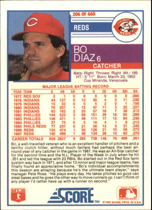 1988 Score #206 Bo Diaz back image