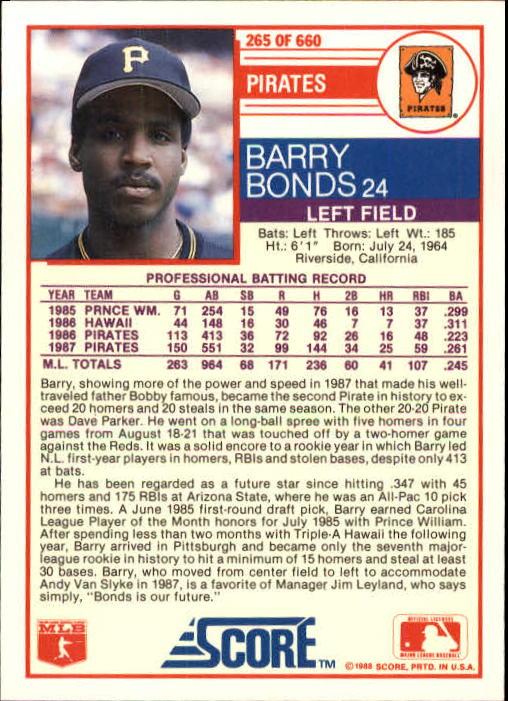 1988 Score #265 Barry Bonds back image