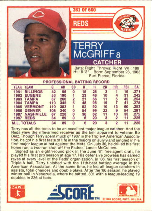 1988 Score #281 Terry McGriff back image