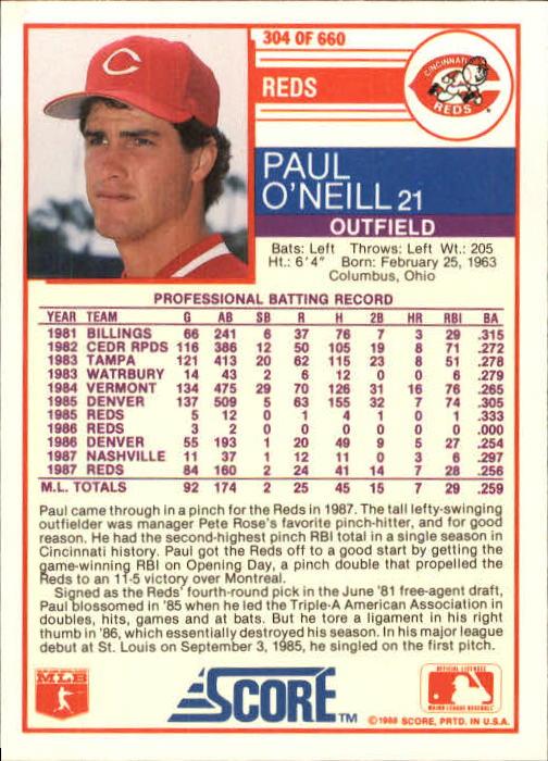 1988 Score #304 Paul O'Neill back image