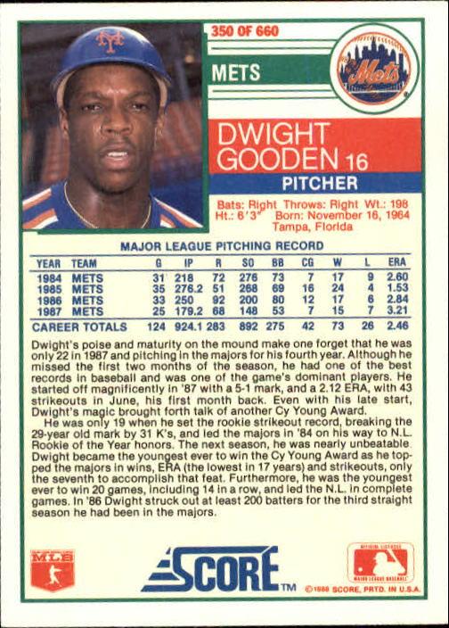 1988 Score #350 Dwight Gooden back image