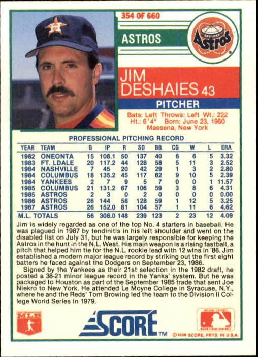 1988 Score #354 Jim Deshaies back image