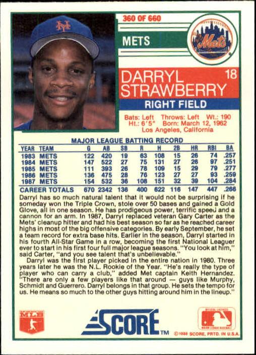 1988 Score #360 Darryl Strawberry back image