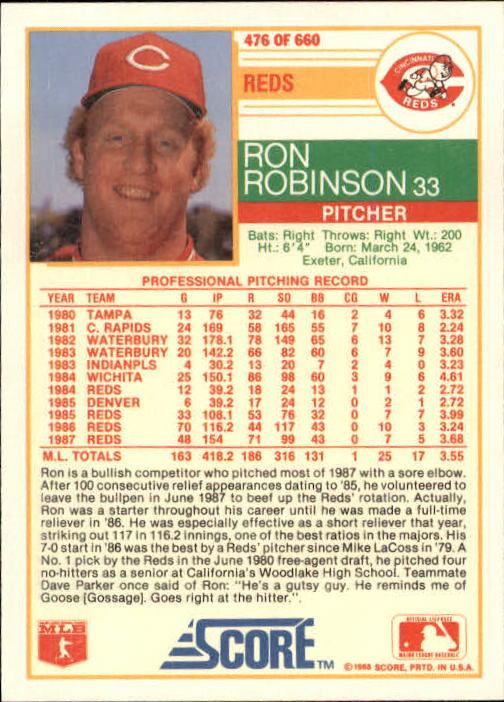 1988 Score #476 Ron Robinson back image