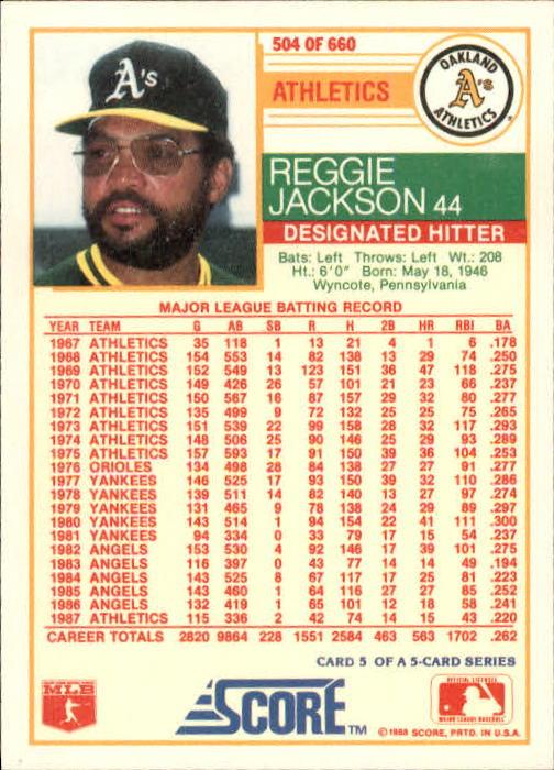 1988 Score 504 Reggie Jackson As Nm Mt
