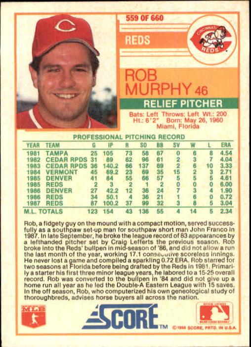 1988 Score #559 Rob Murphy back image