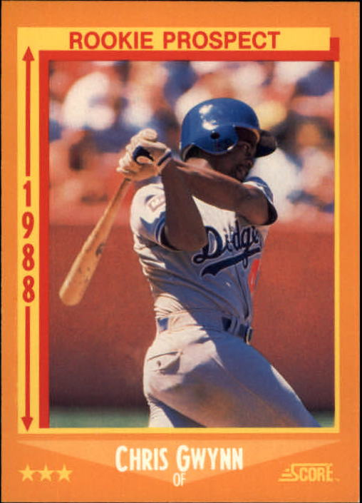 1988 Score #640 Chris Gwynn UER RC/Wrong batting and/throwing on back