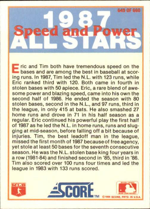 1988 Score #649 Eric Davis/Tim Raines back image