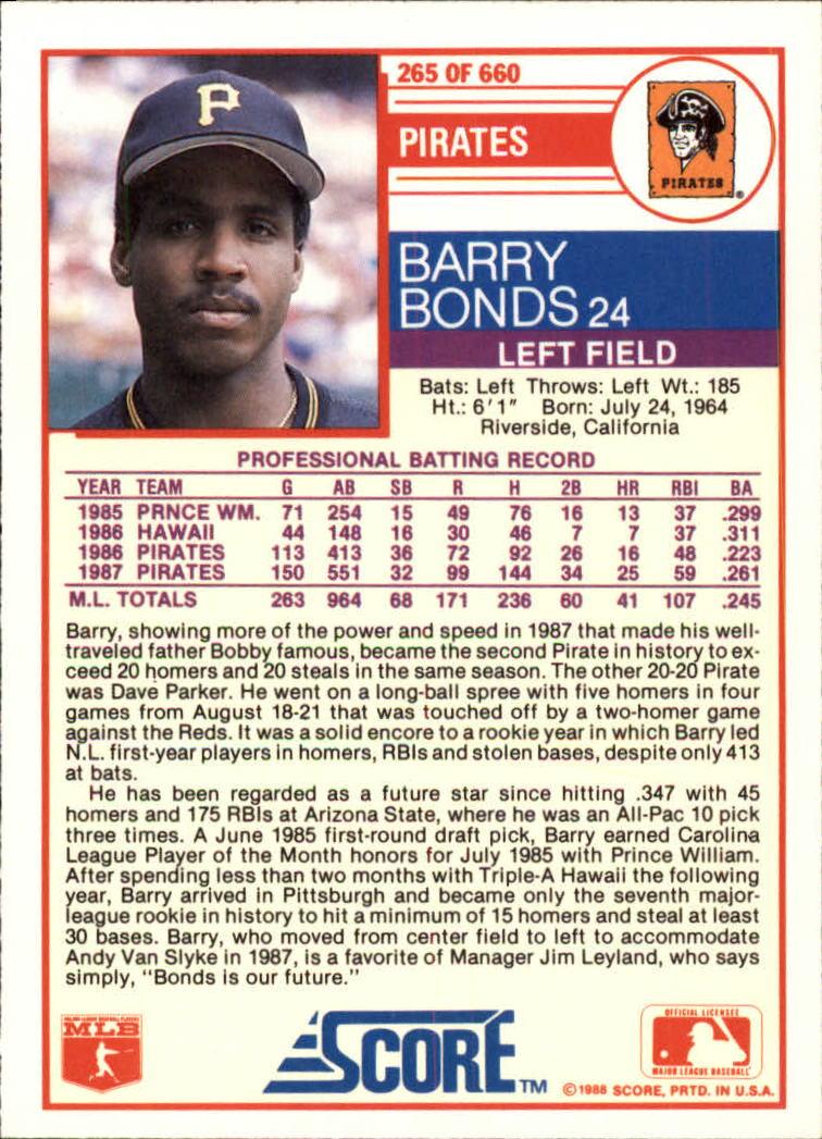 1988 Score Glossy #265 Barry Bonds back image