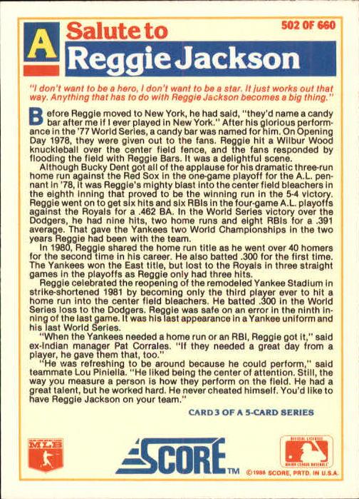 1988 Score Glossy #502 Reggie Jackson/(New York Yankees) back image