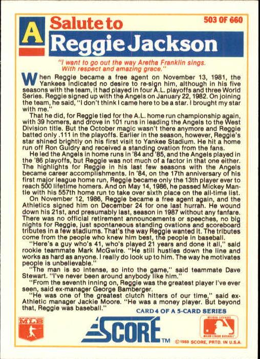 1988 Score Glossy #503 Reggie Jackson/(California Angels) back image