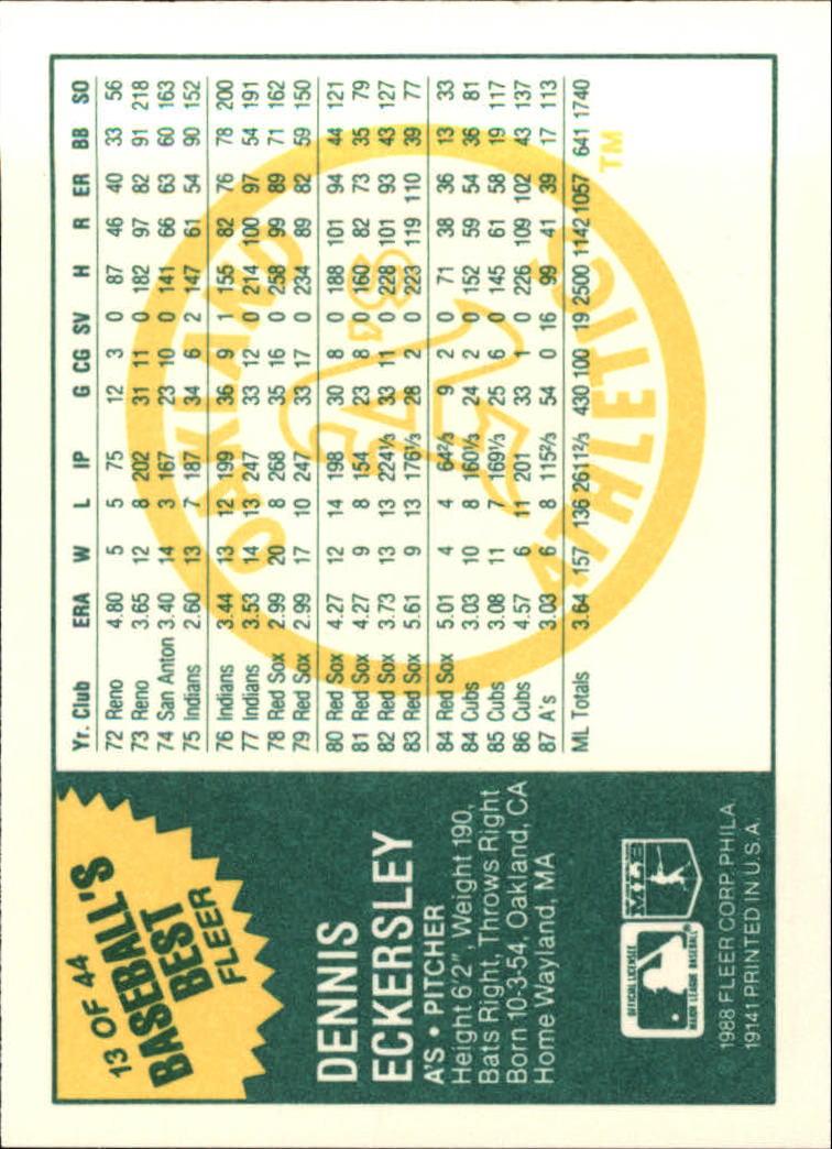1988 Fleer Sluggers/Pitchers #13 Dennis Eckersley back image