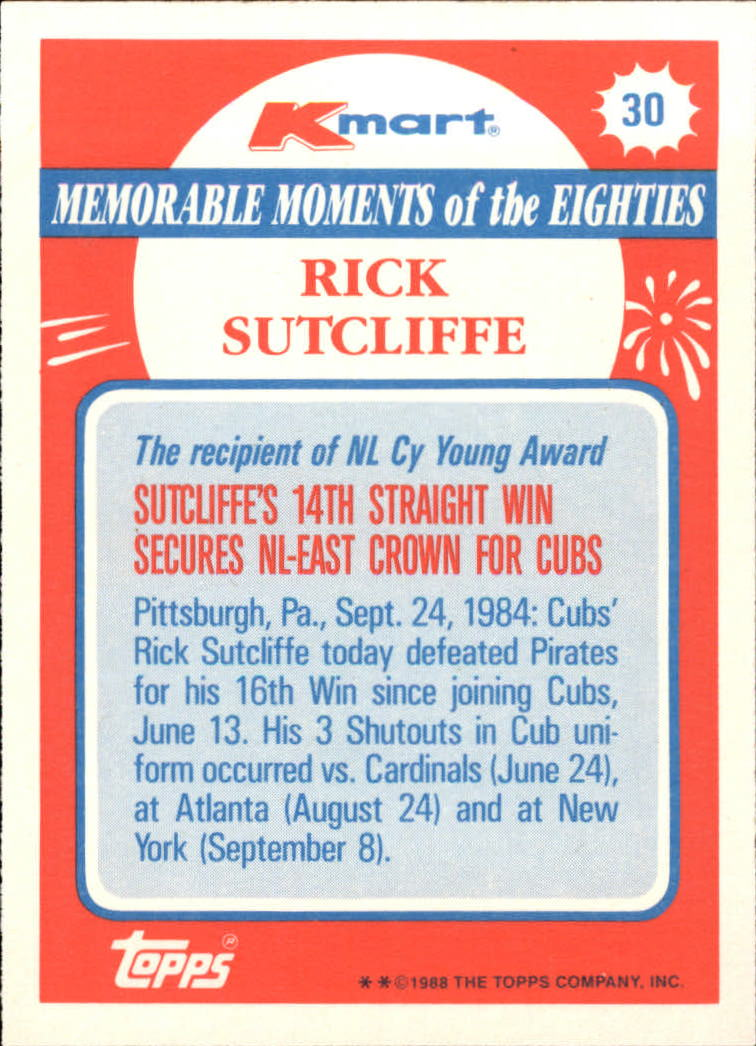 1988 K-Mart #30 Rick Sutcliffe back image