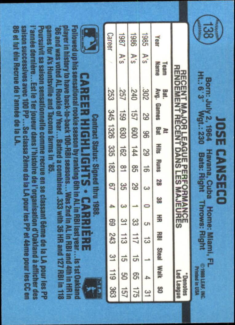 1988 Leaf/Donruss #138 Jose Canseco back image