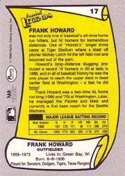 1988 Pacific Legends I #17 Frank Howard back image