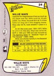 1988 Pacific Legends I #24 Willie Mays back image