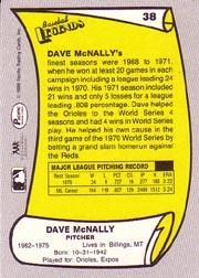 1988 Pacific Legends I #38 Dave McNally back image