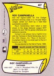 1988 Pacific Legends I #47 Roy Campanella back image