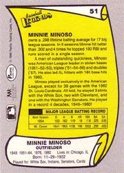 1988 Pacific Legends I #51 Minnie Minoso back image