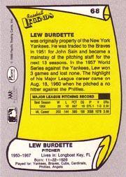 1988 Pacific Legends I #68 Lou Burdette back image