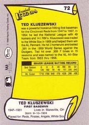 1988 Pacific Legends I #72 Ted Kluszewski back image