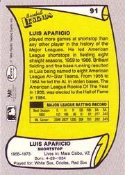 1988 Pacific Legends I #91 Luis Aparicio back image