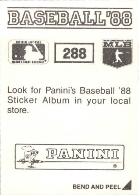 1988 Panini Stickers #288 Nolan Ryan back image