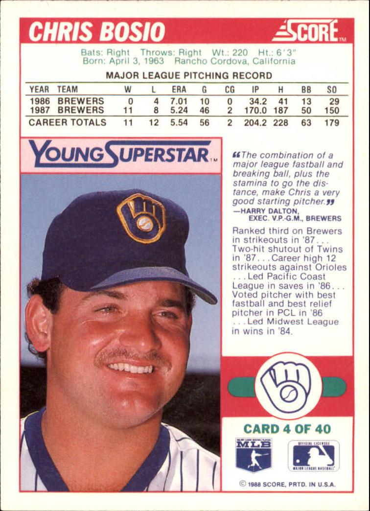 1988 Score Young Superstars I #4 Chris Bosio back image