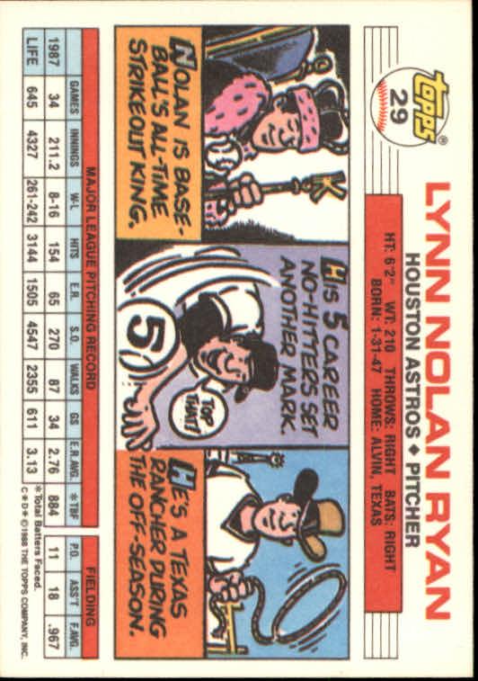 1988 Topps Big #29 Nolan Ryan back image