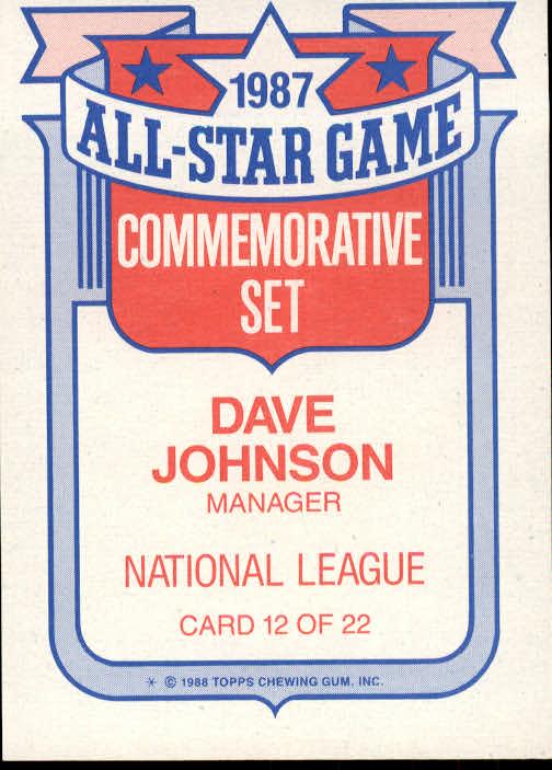1988 Topps Glossy All-Stars #12 Dave Johnson MG back image