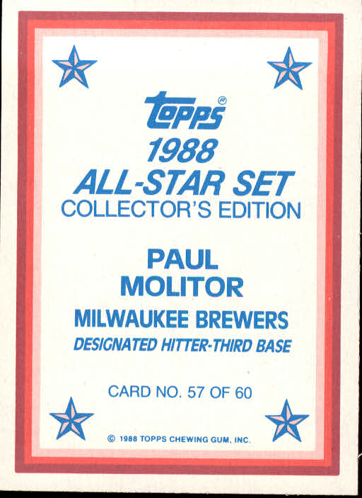 1988 Topps Glossy Send-Ins #57 Paul Molitor back image