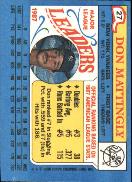 1988 Topps Don Mattingly 27 Baseball Card Ebay