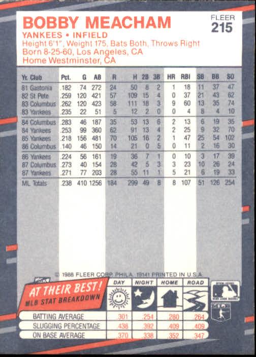 1988 Fleer #215 Bobby Meacham back image